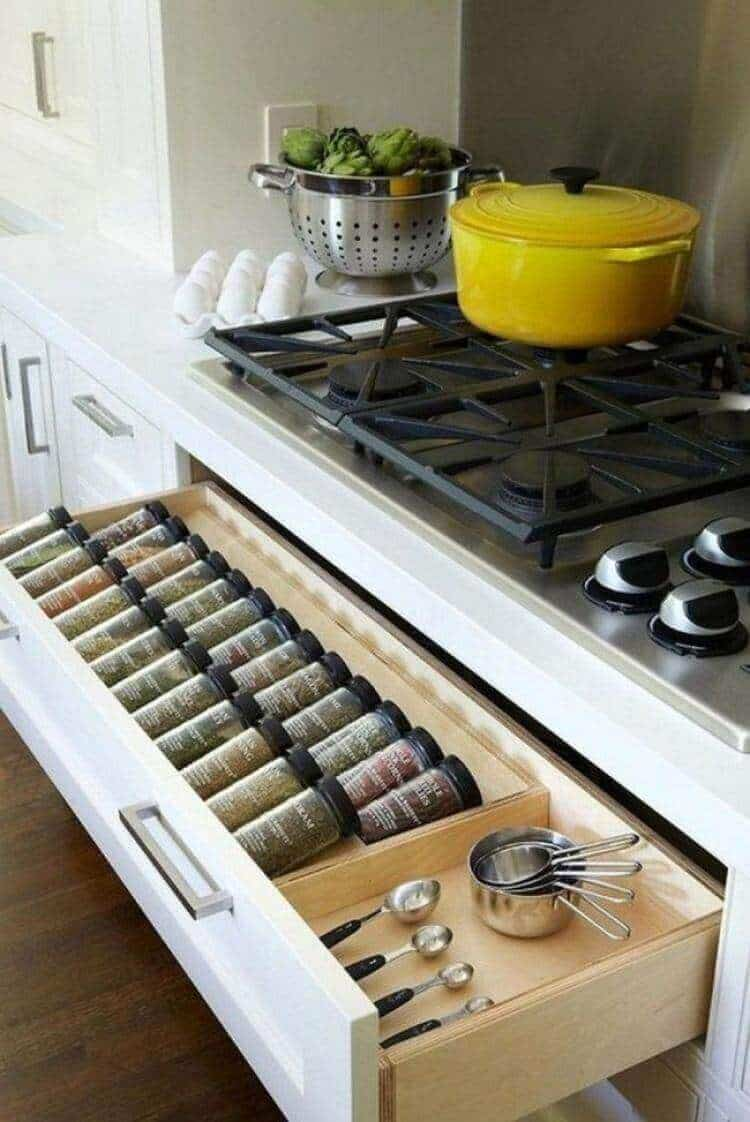 The kitchen countertop storage solutions you are about to see may include just what you need. From the tray idea to adaptations that you can do to your cabinets, there won't be any excuses left for a kitchen in which clutter has the main role.